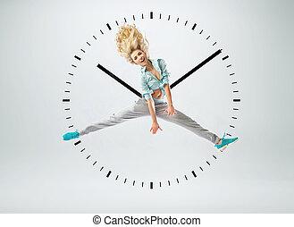 beuatiful, kvinna, som, a, mänsklig, klocka
