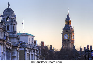Beuatifully sun lit Big Ben in London at sunset, viewed from...