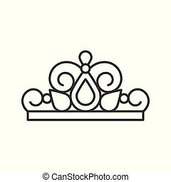 beuauty pageant or princess crown, outline icon.