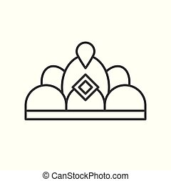 beuauty pageant or princess crown, outline vector icon.