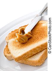 beurre, arachide, enduisage, toast