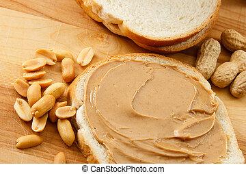beurre, arachide, pain, cacahuètes