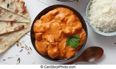beurre, céramique, traditionnel, indien, savoureux, bowl.,...