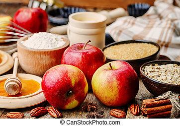 beurre, cuisson, farine, fou, pommes, bois, miel, fond