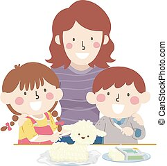 beurre, gosses, paques, découpé, illustration, parent, agneau