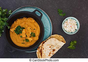 beurre, naan, korma, indien, poulet, riz