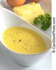beurre, poivre, ingrédients, oeuf, sommet, foyer, dos, milieu, foyer, noir, (selective, bowl), hollandaise, sauce, sien