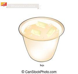 beurre, salé, thé, suja, bhutanese, saveur, ou