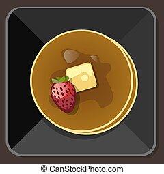 beurre, sirop, plaque, fraise, pan cake