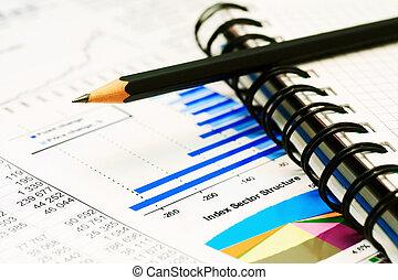 beursmarkt, grafieken, en, diagrammen