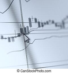 beursmarkt, grafieken, op, de, computermonitor
