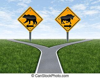 beursmarkt, kruispunten, met, stier en beer, tekens & borden