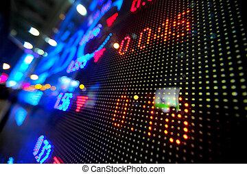 beursmarkt, prijs, display, abstract