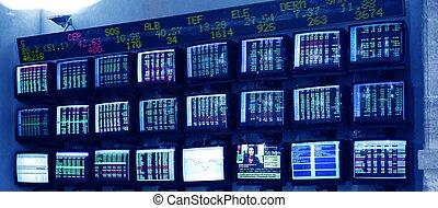 beursmarkt, veelvoudig, scherm, met, rapporten