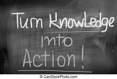 beurt, kennis, in, actie, concept