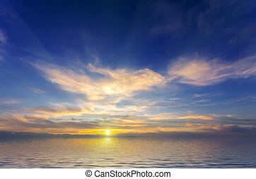 beutiful, coucher soleil, clair