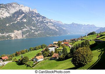 Beutiful lake Walensee in the Swiss Alps, Switzerland