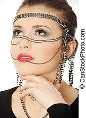 beutiful, morena, com, jewelery, ligado, dela, rosto