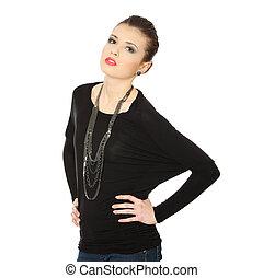 Beutiful teen  brunette with jewelery