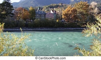 Beutiful View of the Inn River in Innsbruck