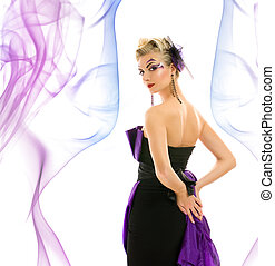 Beutiful woman in fashionable dress with creative hairstyle and makeup on abstract background