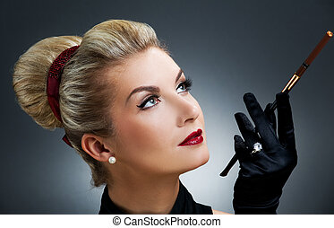 Beutiful woman with cigarette