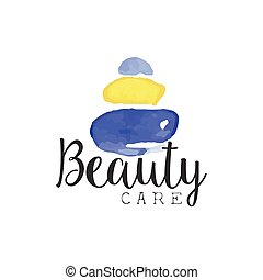 Beuty Care Promo Sign Watercolor Stylized Hand Drawn Logo ...