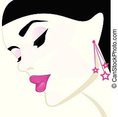 Beuty salon woman head vector - Pretty girl face makeup ...