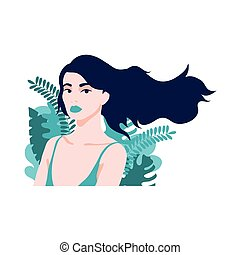 beuty woman with underwear and tropical leafs plants vector ...