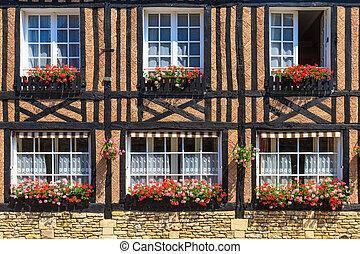 beuvron-en-auge, hus, typisk, normandie, fasad