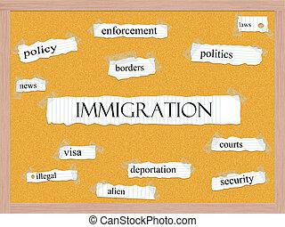 bevándorlás, corkboard, szó, fogalom