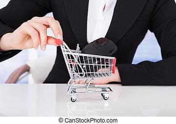 bevásárlás, üzletasszony, rámenős, kordé, computer egér