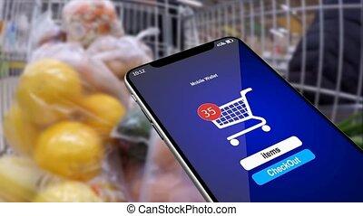 bevásárlás, alatt, a, online, store., anyagi, számvitel,...