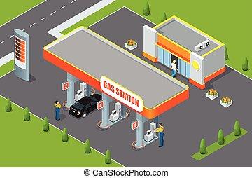 bevásárlás, autó, service., pumpa, állomás, gáz, feltöltő, ...