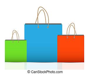 bevásárlás, bélyegez, ábra, táska, vektor, hirdetés, üres