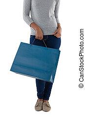 bevásárlás, birtok, kék, táska, nő