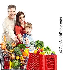 bevásárlás, cart., család, boldog