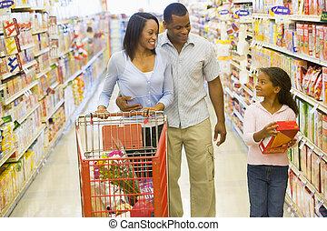 bevásárlás, család, élelmiszer áruház