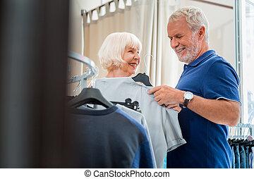 bevásárlás, család, pozitív, öregedő, együtt, hétvégi