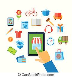 bevásárlás, e-commerce, kéz, fogalom