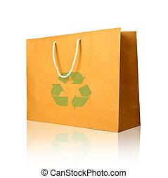 bevásárlás, elszigetelt, táska, dolgozat, újra hasznosít, fehér