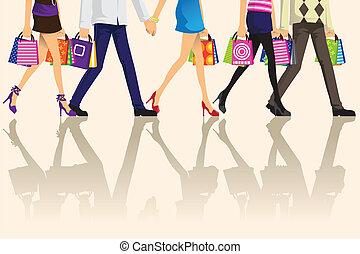 bevásárlás, emberek
