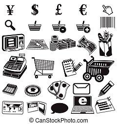 bevásárlás, fekete, ikonok