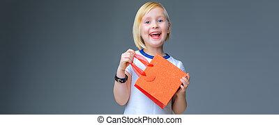 bevásárlás, finom, kiállítás, szürke, táska, gyermek, karácsony, piros, boldog