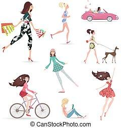 bevásárlás, gyalogló, mód, életmód, girl., meglehetősen, felolvasás