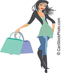 bevásárlás, hölgy