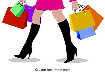 bevásárlás, hölgy, színezett
