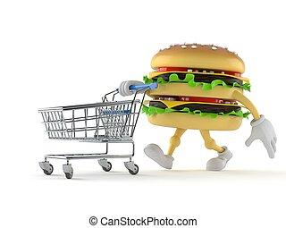 bevásárlás, hamburger, betű, kordé