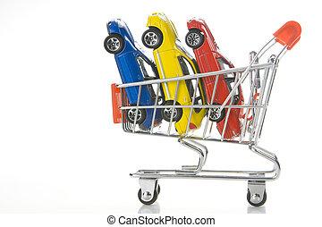 bevásárlás, helyett, egy, autó