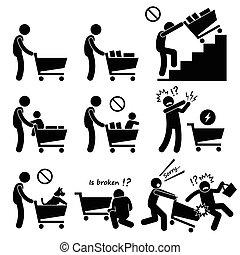 bevásárlás, idegenvezető, kordé